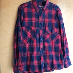 Zara navy blue red plaid snap-up collared shirt